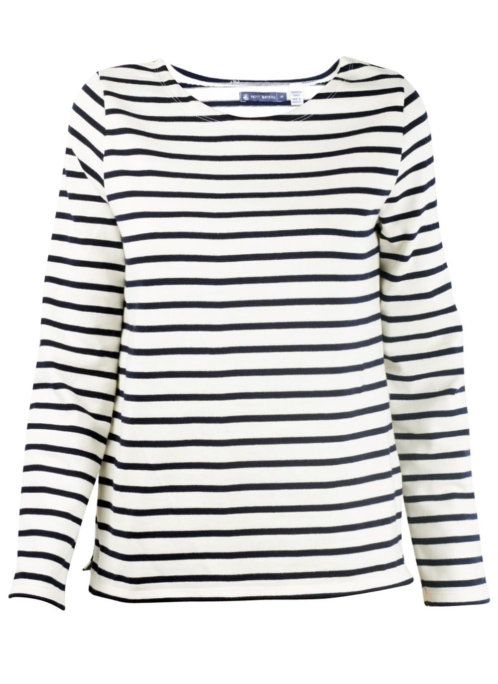 Petit bateau white and navy marine stripe tee in white lyst for Petit bateau striped shirt