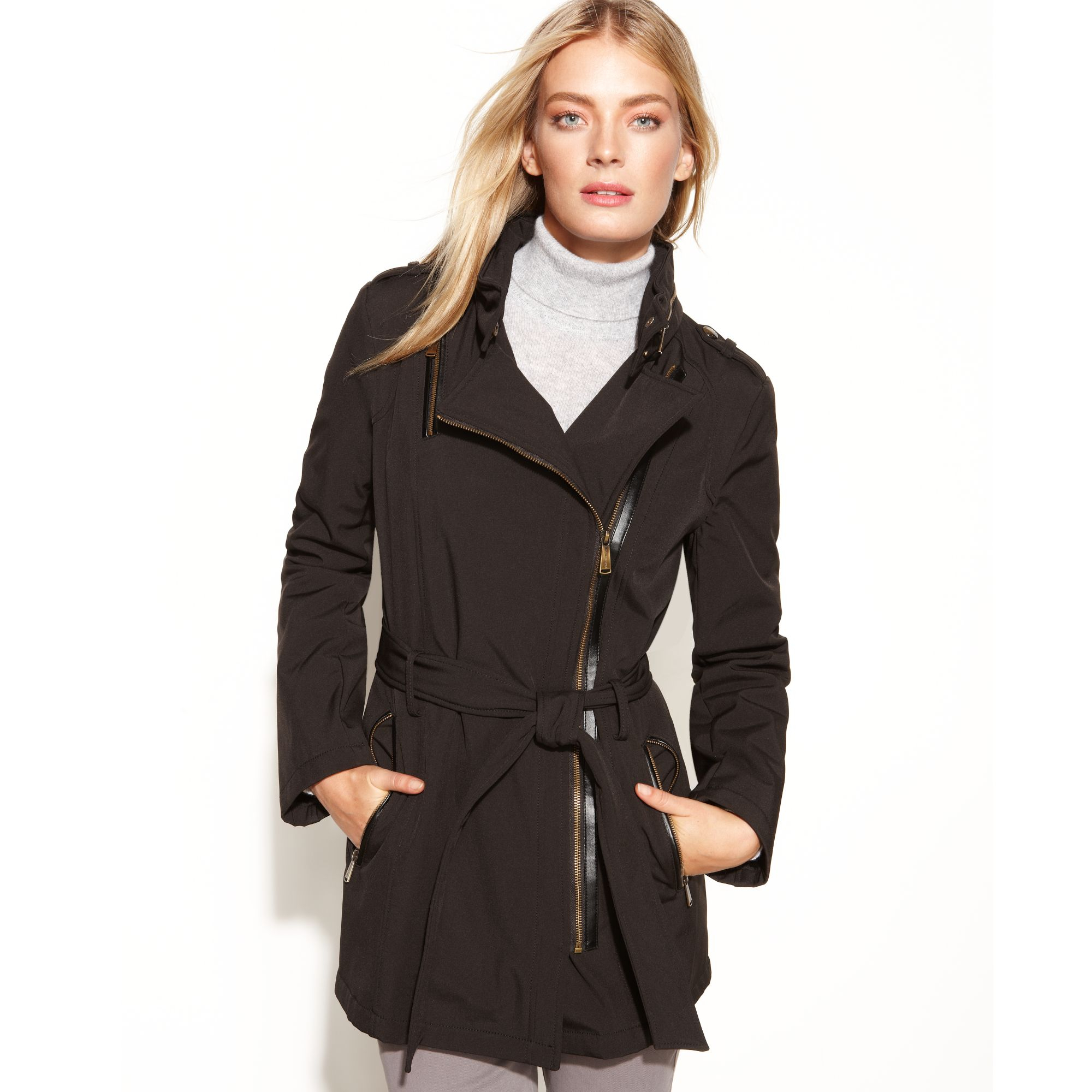 790b83353ccc Lyst - Michael Kors Hooded Asymmetrical Belted Softshell Coat in Black