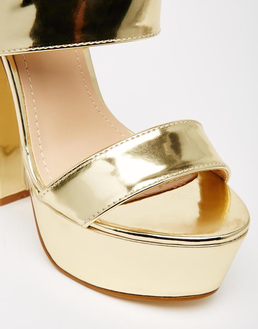 Lyst Public Desire Shakira Gold Platform Heeled Sandals