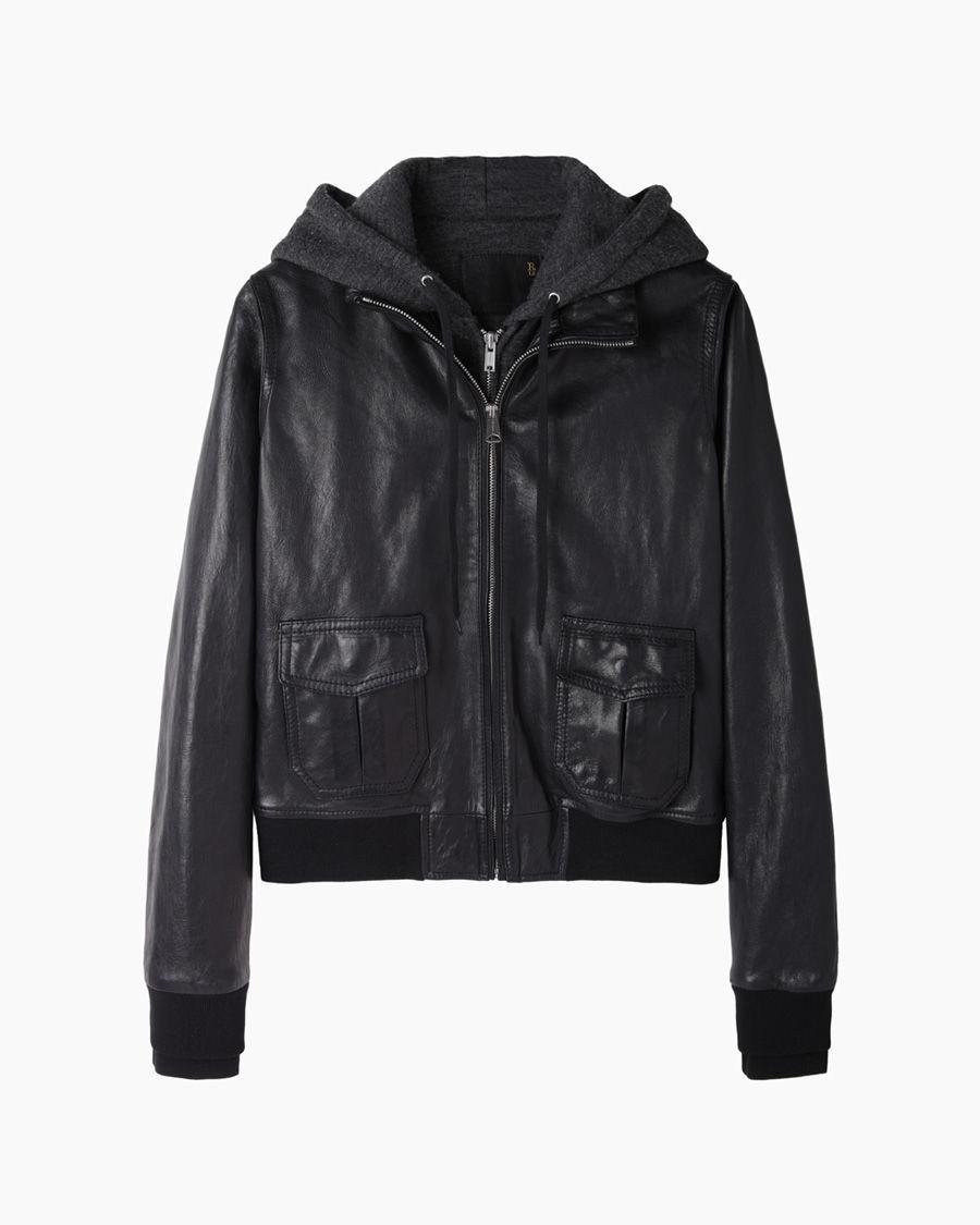 R13 Hooded Flight Jacket in Black | Lyst