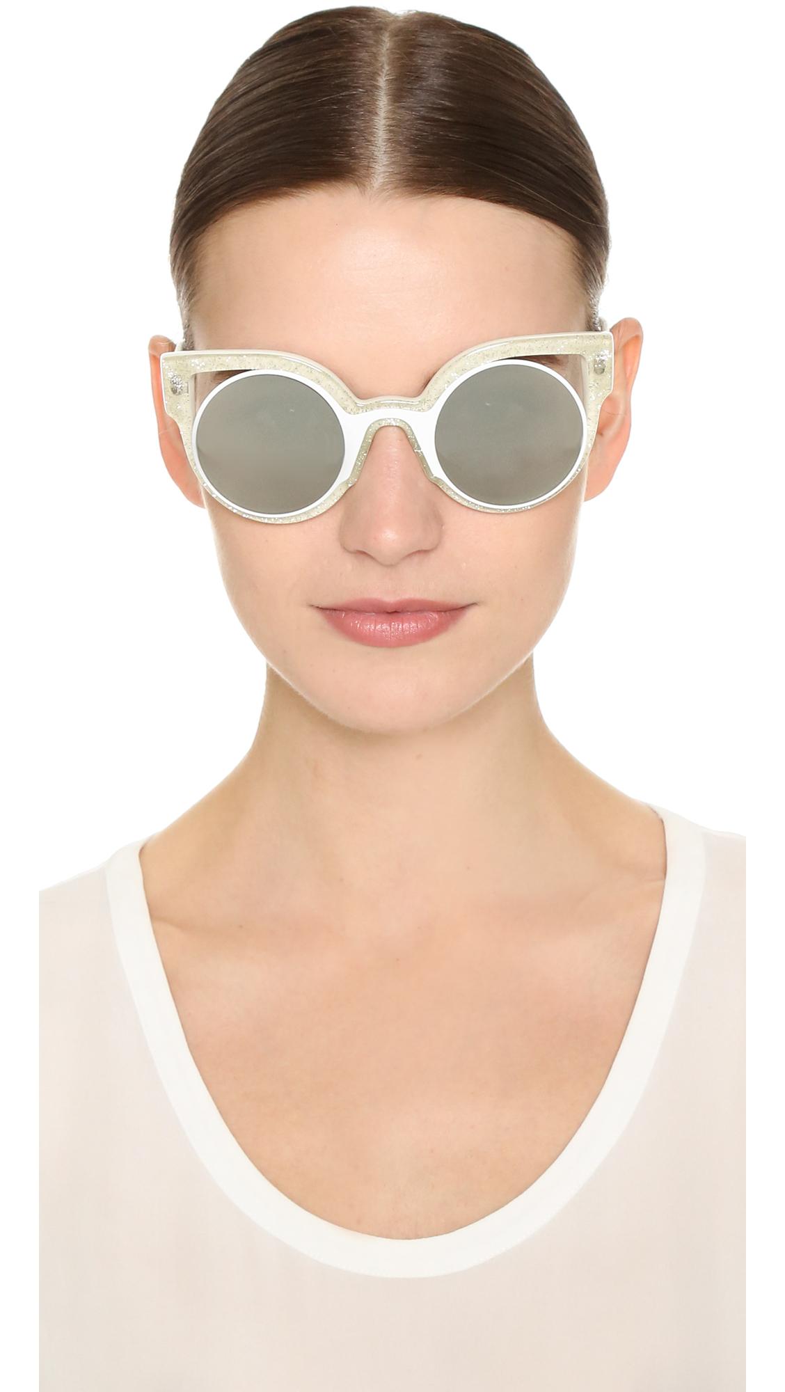 3a1e346c3a Lyst - Fendi Round Cutout Sunglasses in White