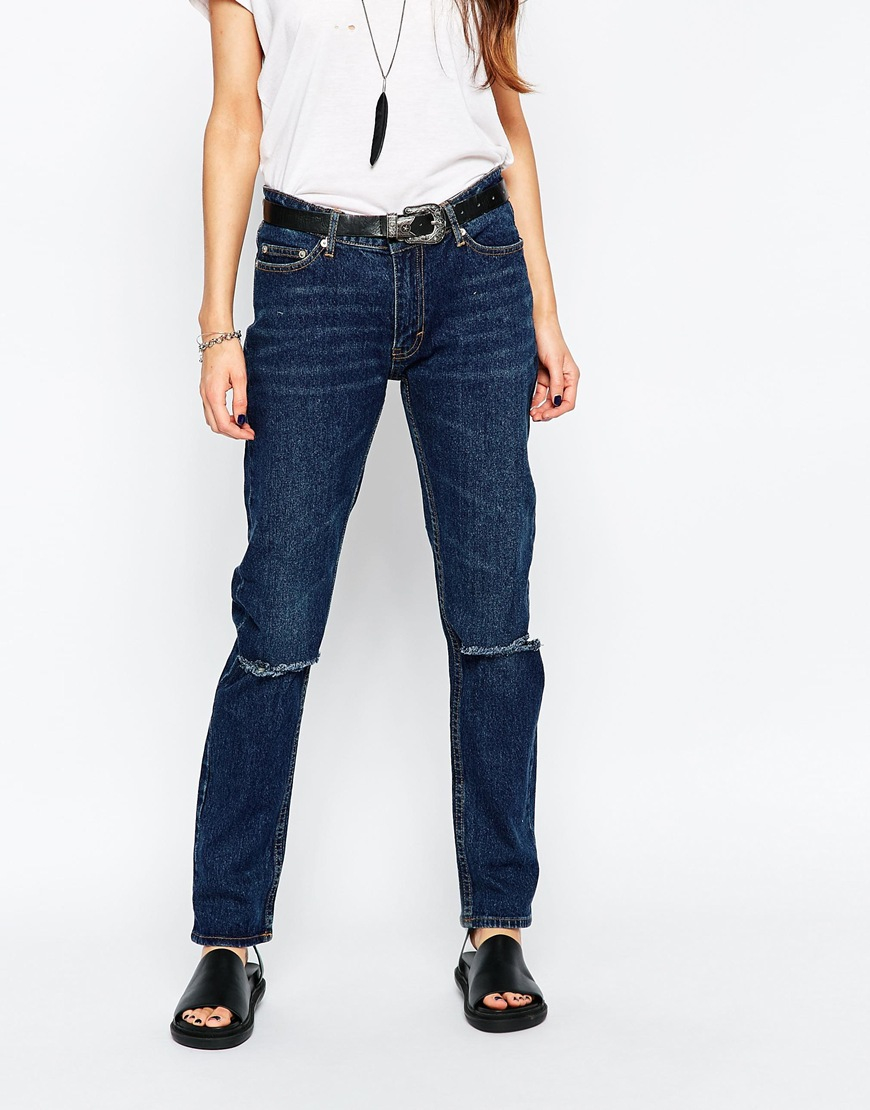 lyst cheap monday common jeans blue in blue. Black Bedroom Furniture Sets. Home Design Ideas