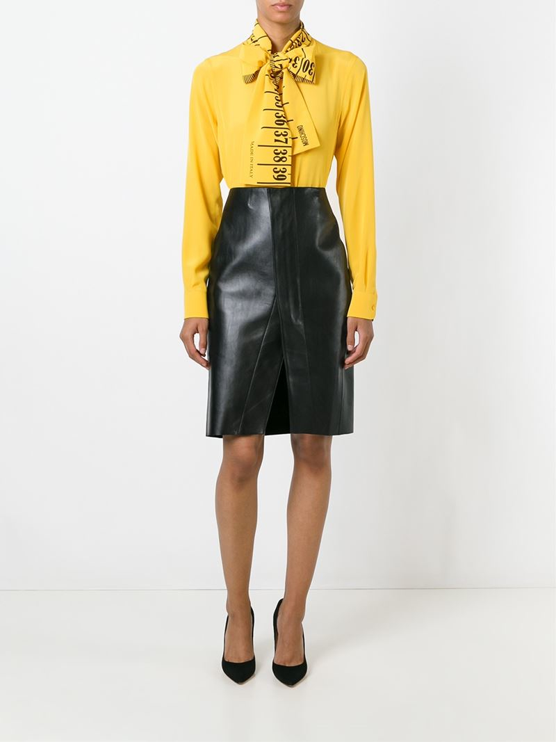 76c713171de164 Lyst - Moschino Ruler Pussybow Blouse in Yellow