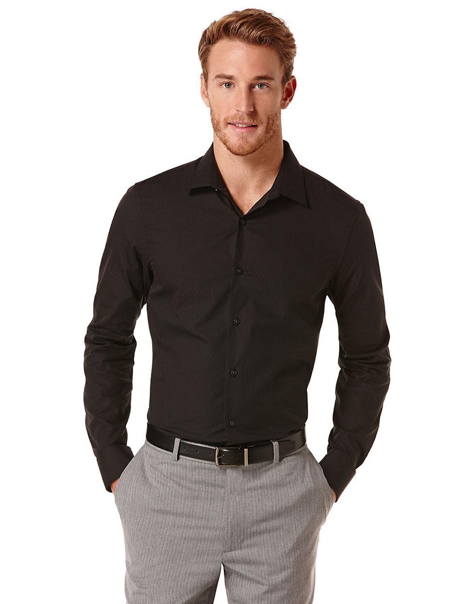 Perry Ellis Slim Fit Mini Diamond Sportshirt In Black For