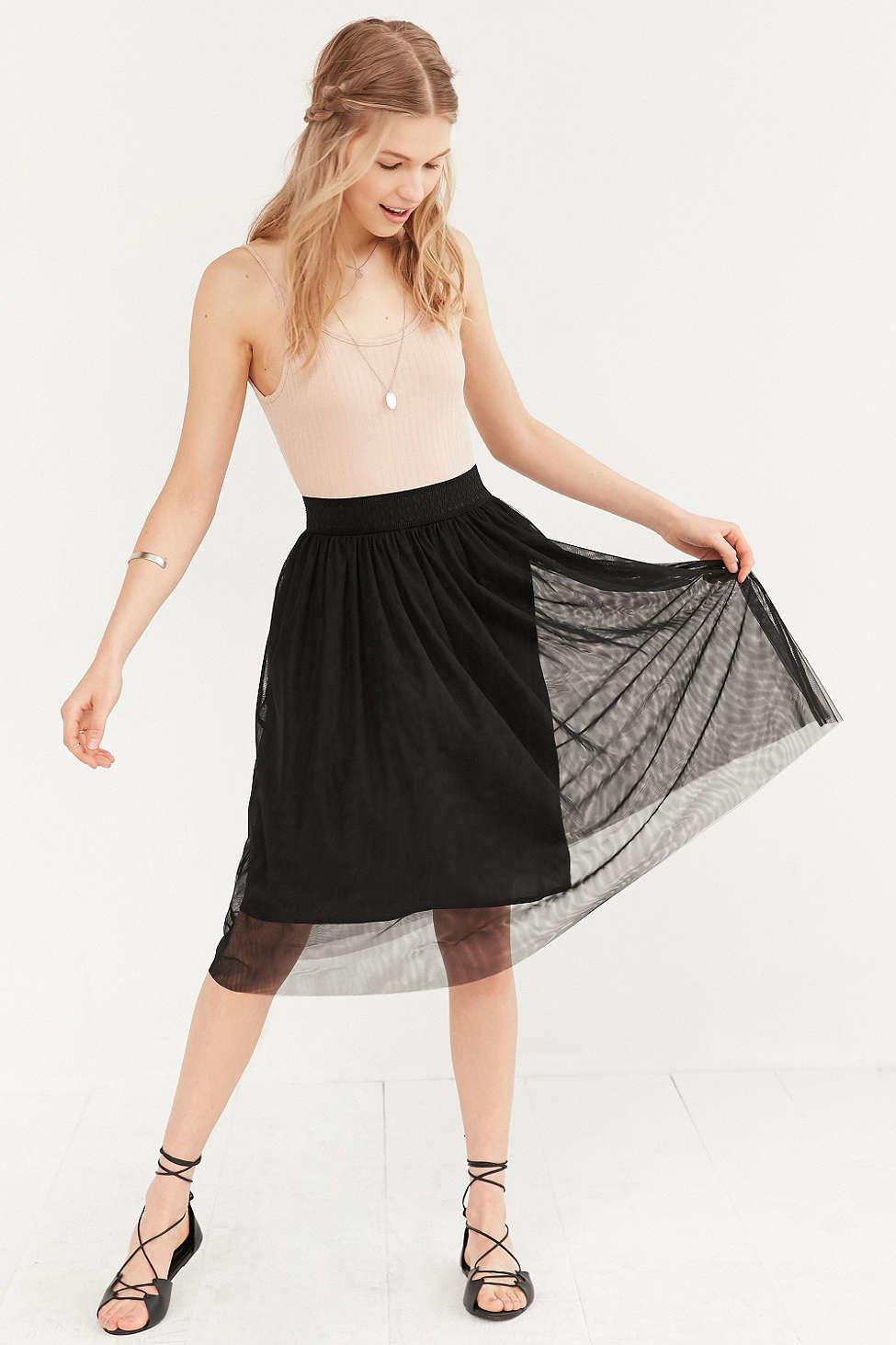 uo mesh ballet midi skirt in black lyst