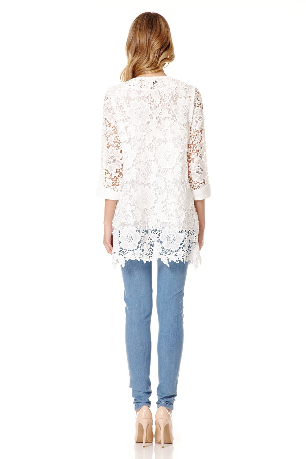 Quiz White Lace 34 Sleeve Jacket For Men - Lyst-3900