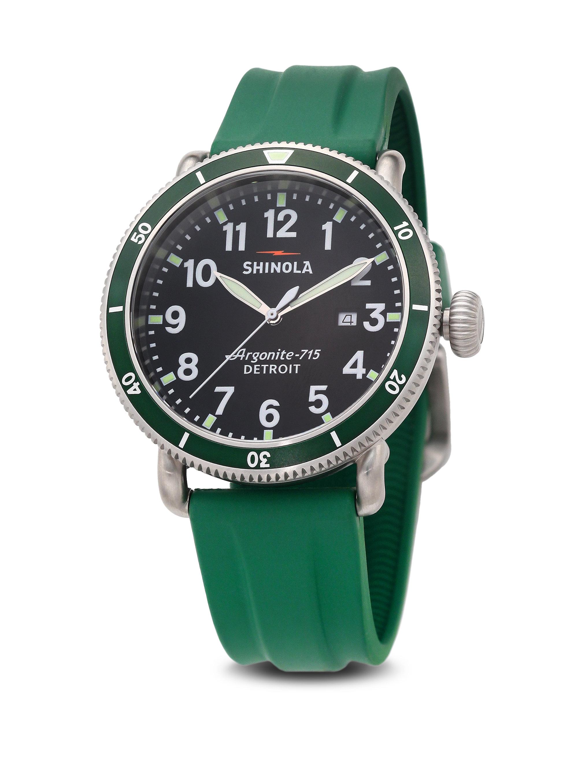 Lyst shinola runwell sport stainless steel strap watch in green for Shinola watches