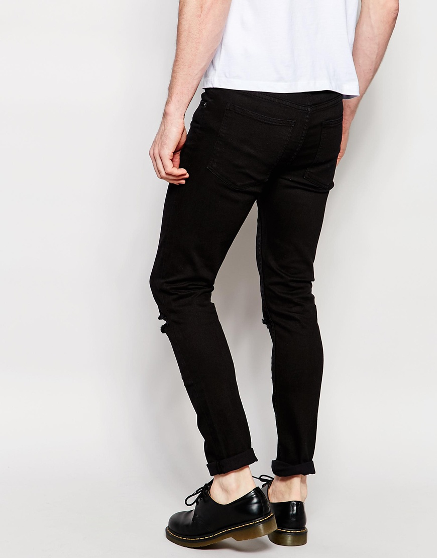 Cheap monday Jeans Tight Skinny Fit Ripped Black in Black for Men ...