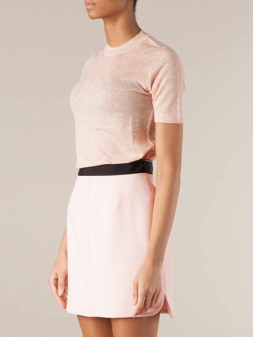 Balenciaga Short Sleeve Sweater in Pink | Lyst