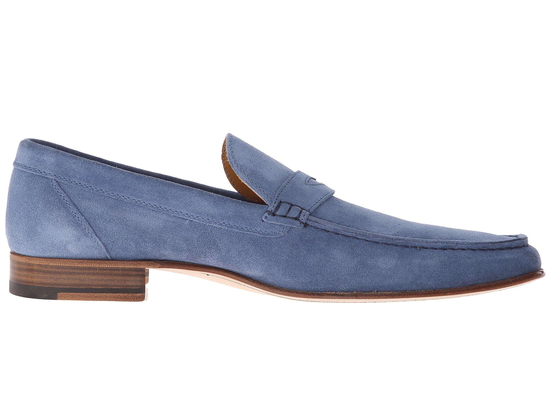 A.Testoni Unlined Suede Penny Loafer in Blue for Men - Lyst