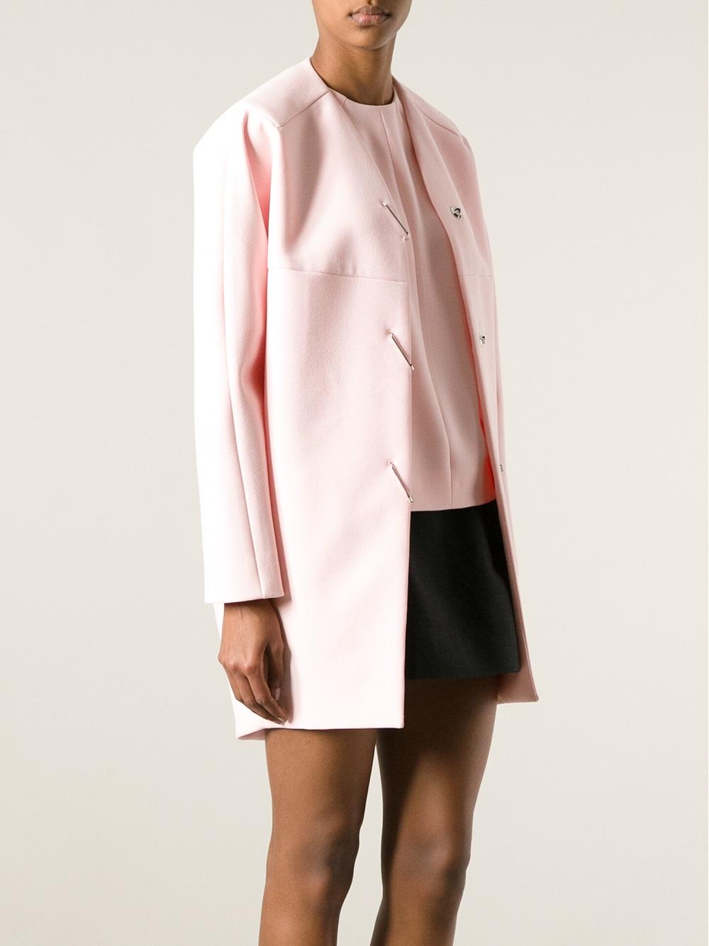 20dcd481c5d1e Lyst - Balenciaga Collarless Coat in Pink