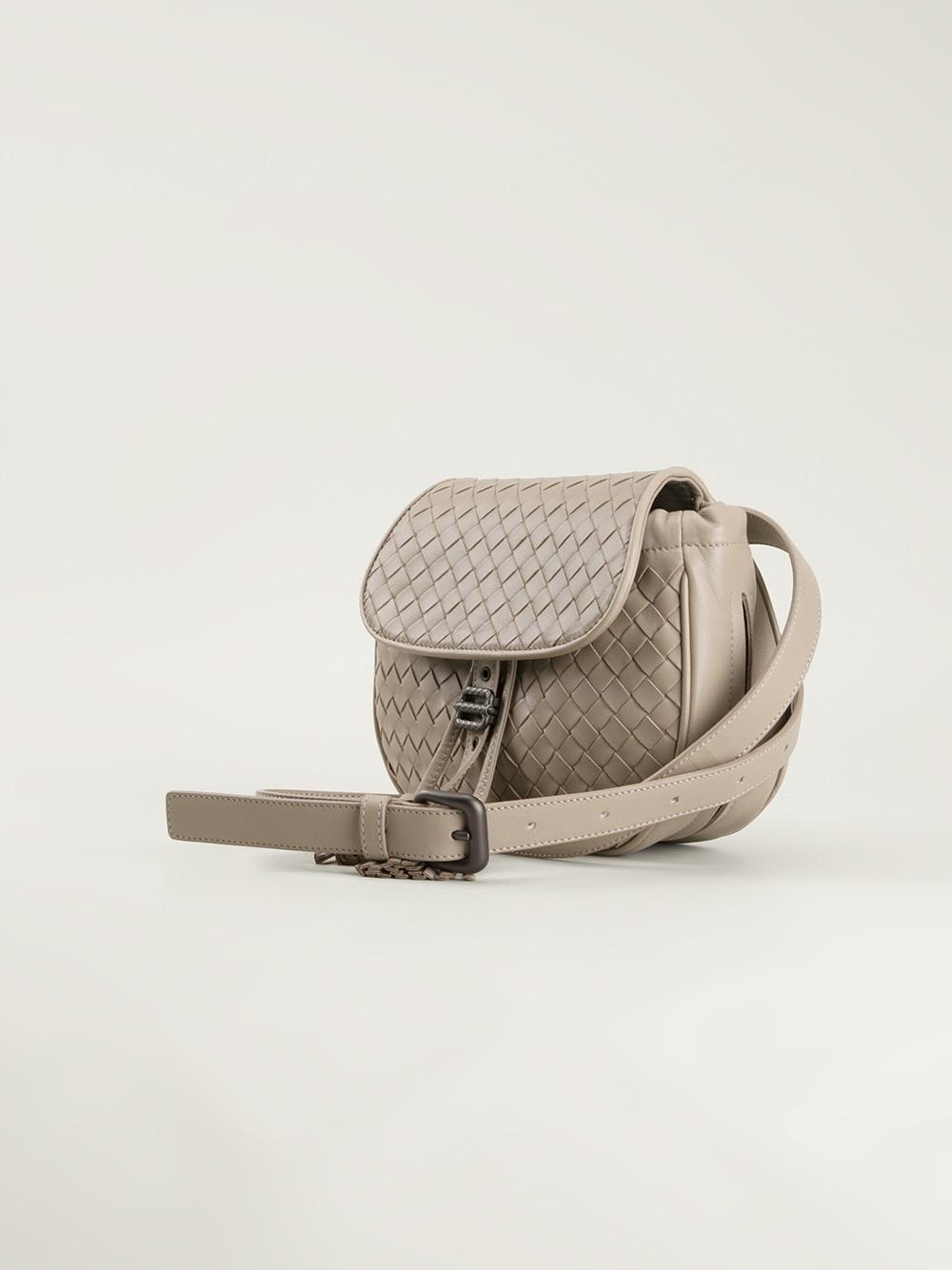 8a2d96c4fbef Bottega Veneta Intrecciato Saddle Bag in Gray - Lyst