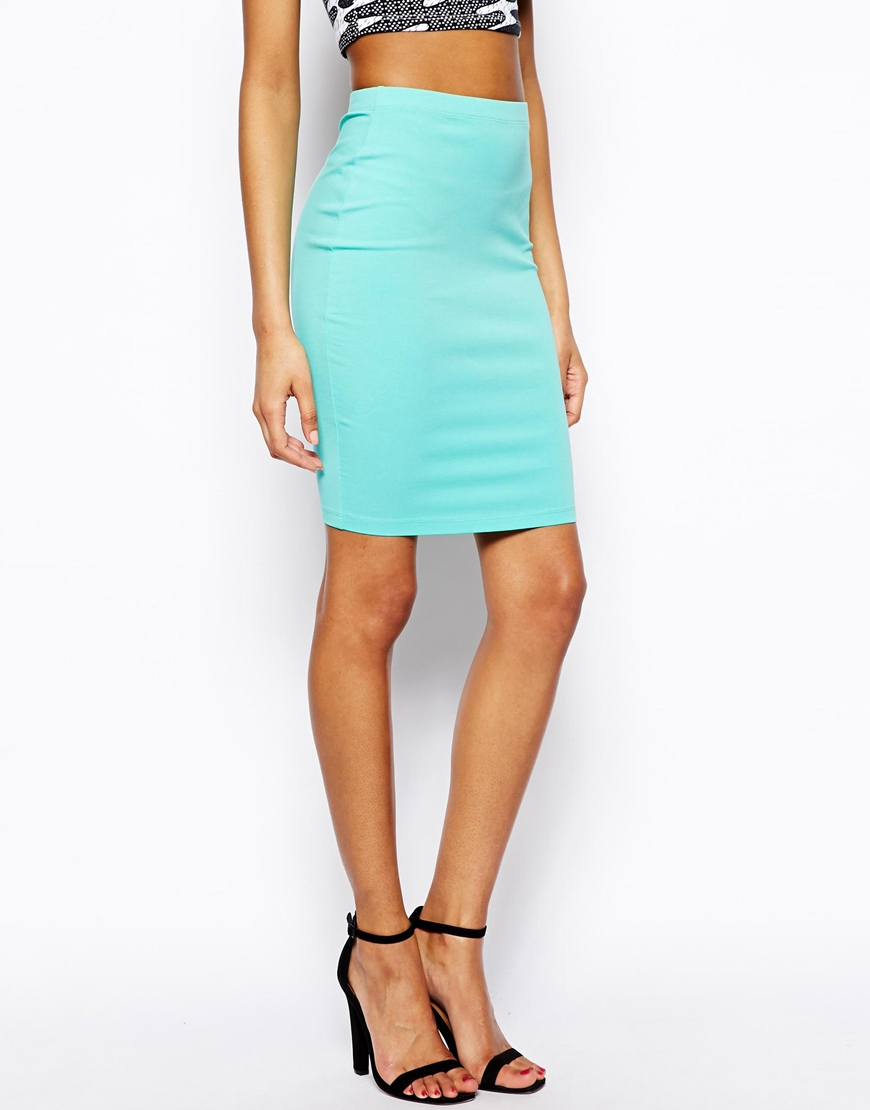 asos knee length pencil skirt in jersey in blue mint lyst