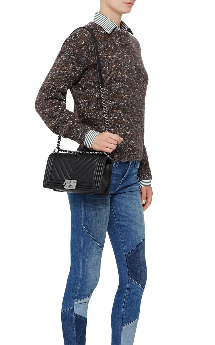 7d4f709ecdd2 Madison Avenue Couture Chanel Black Chevron Medium Boy Bag in Black ...
