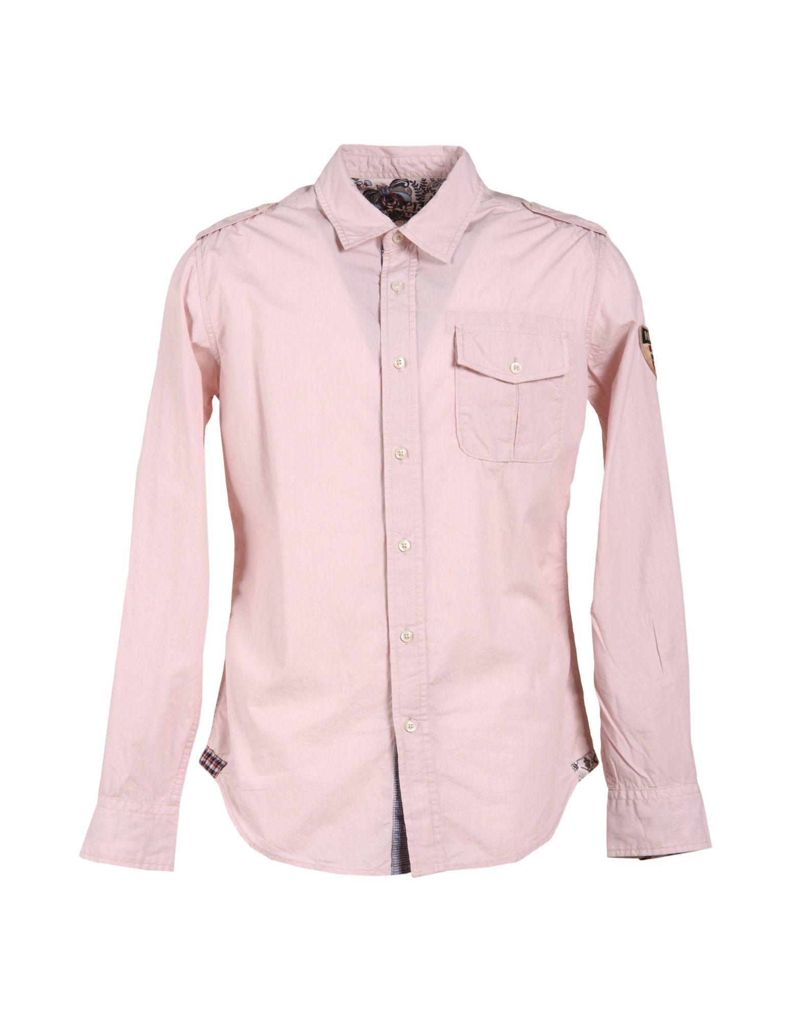 Napapijri long sleeve shirt in pink for men light pink for Mens pink long sleeve shirt