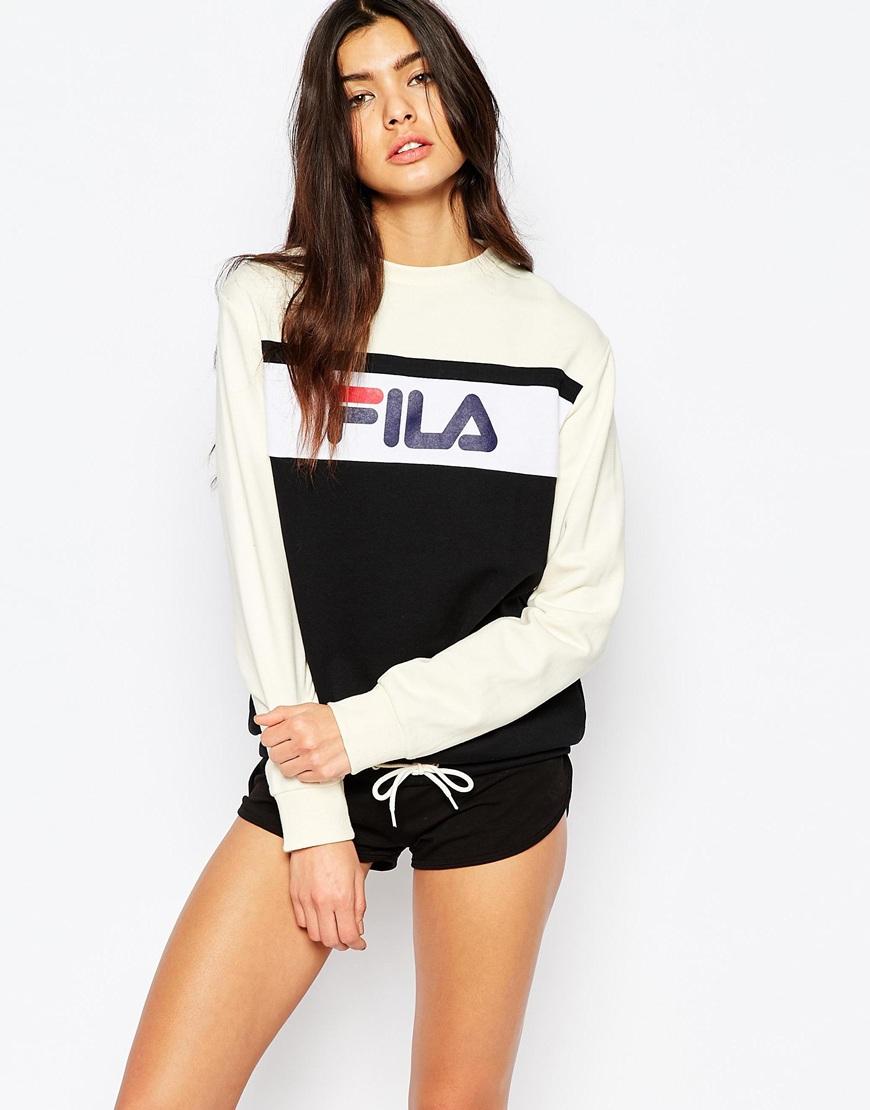 fila oversized boyfriend sweatshirt with front logo drawstring in black lyst. Black Bedroom Furniture Sets. Home Design Ideas