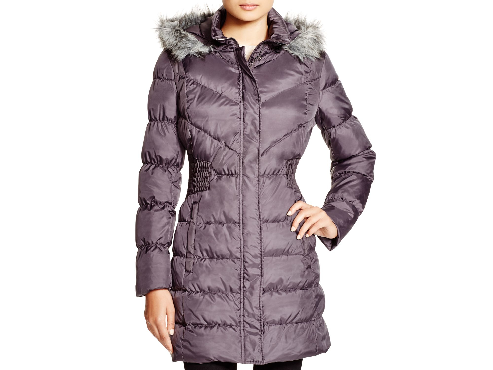 Via Spiga Faux Fur Trim Hooded Puffer Jacket In Steel