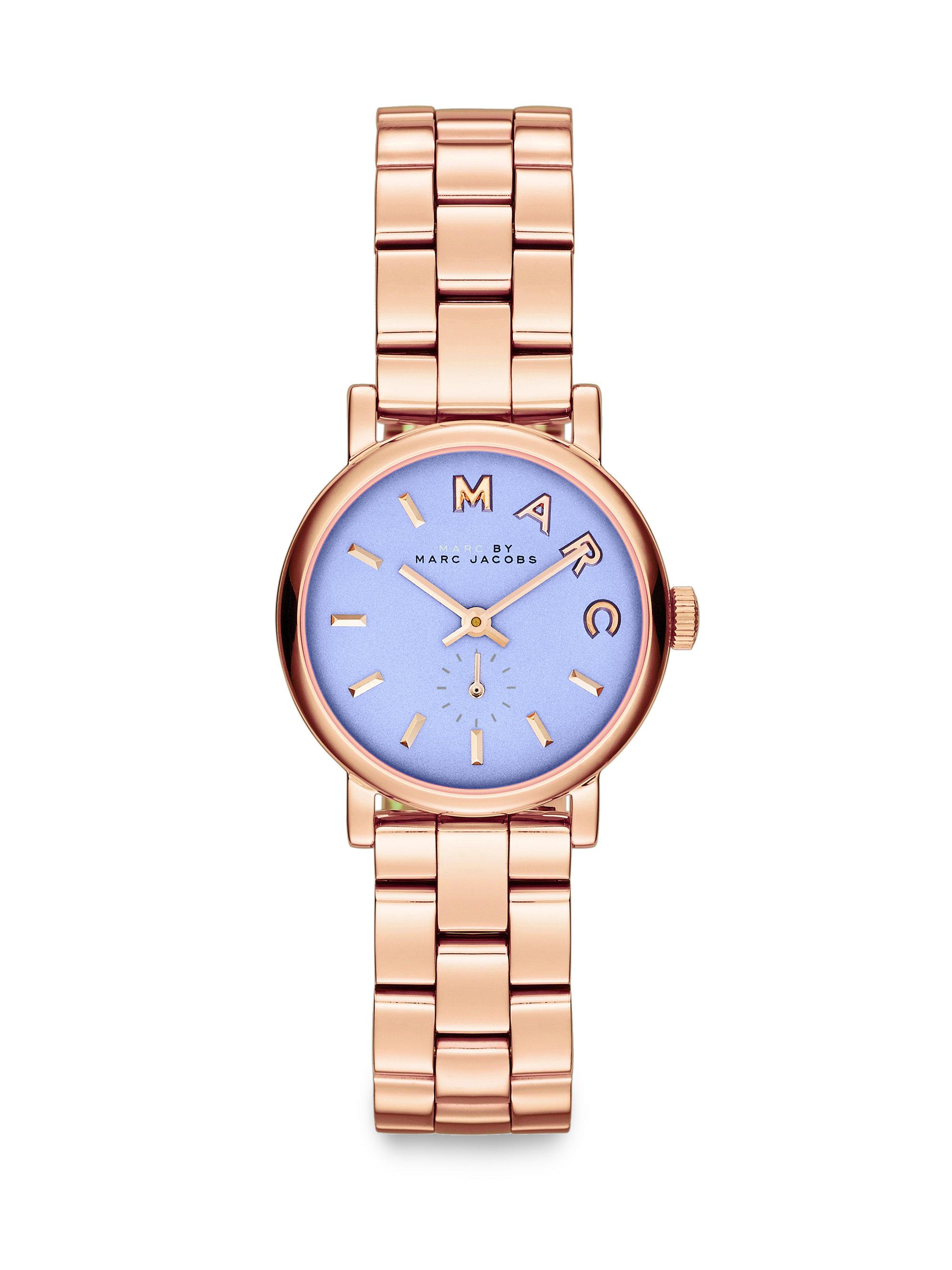 Blue Goldtone Round Bracelet Watch - Women