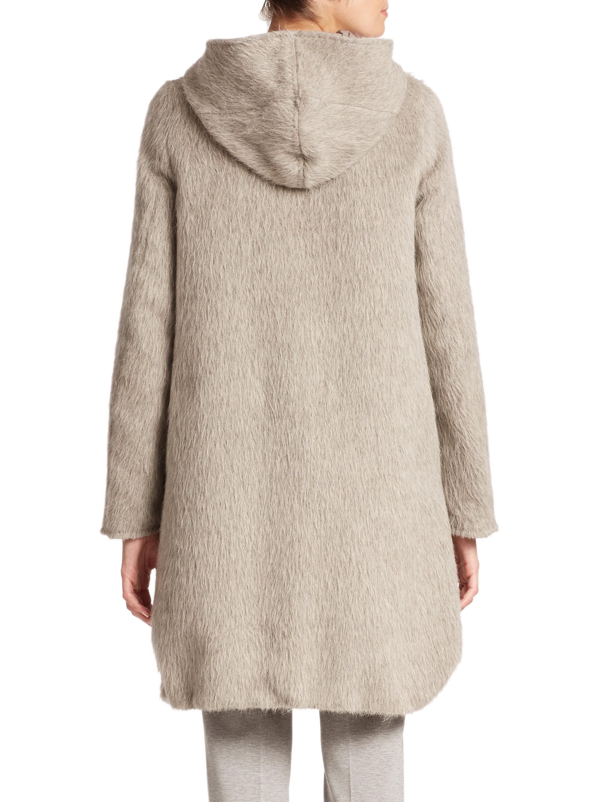 Lyst Max Mara Arles City Reversible Alpaca Coat In Gray