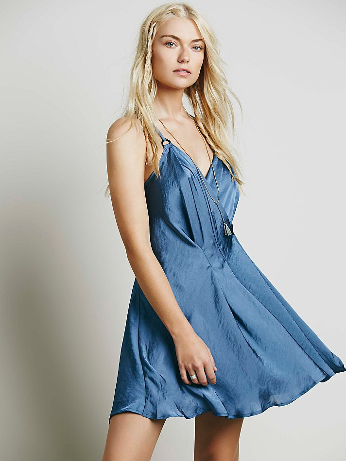 Free People Womens Silver Sky Mini Dress In Blue Lyst
