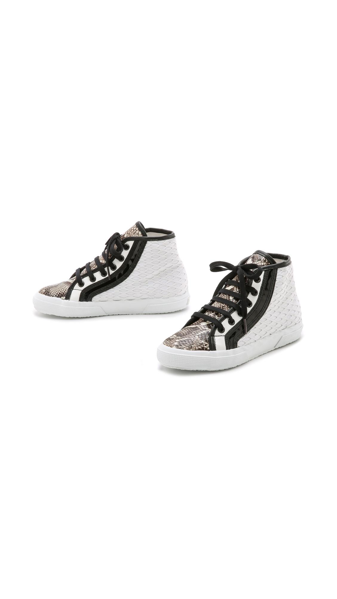 Superga Rodarte X Net Snake High Top Sneakers - White Multi