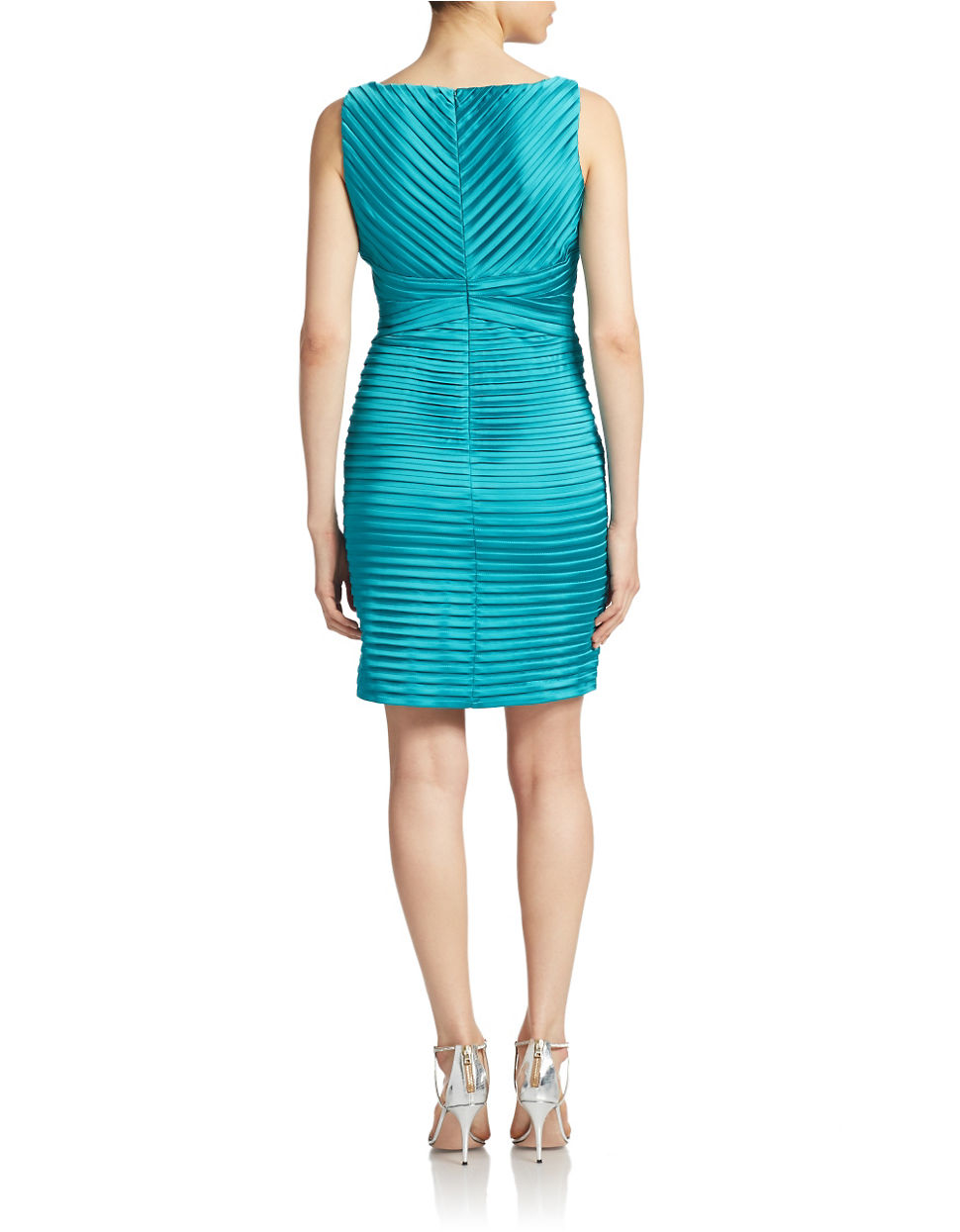Calvin Klein Satin Teal Stretch Sheath Dress In Blue Lyst