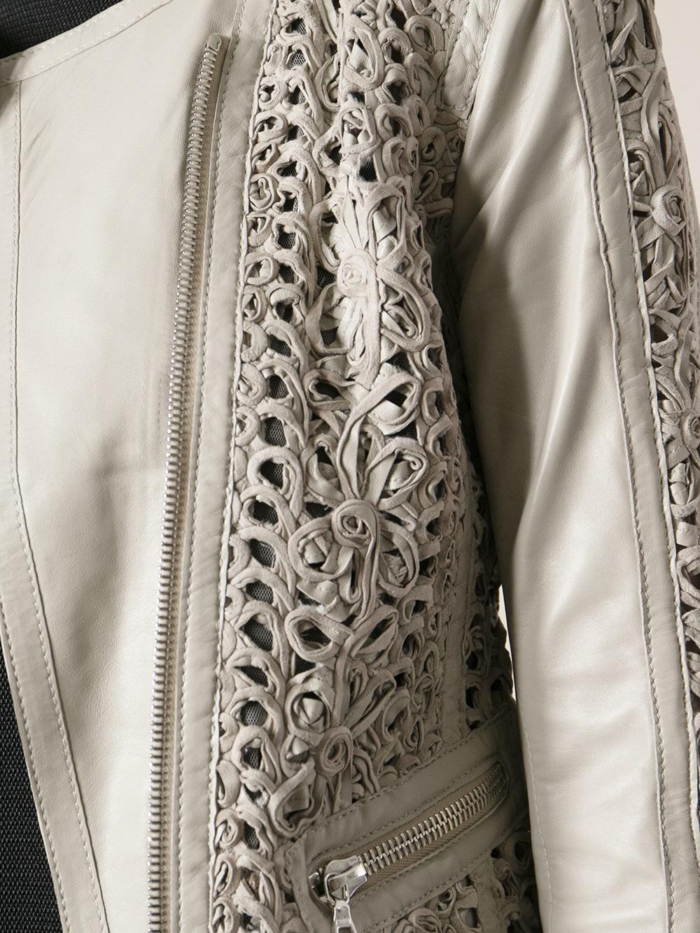 Sylvie Schimmel Crochet Biker Jacket In Gray Lyst