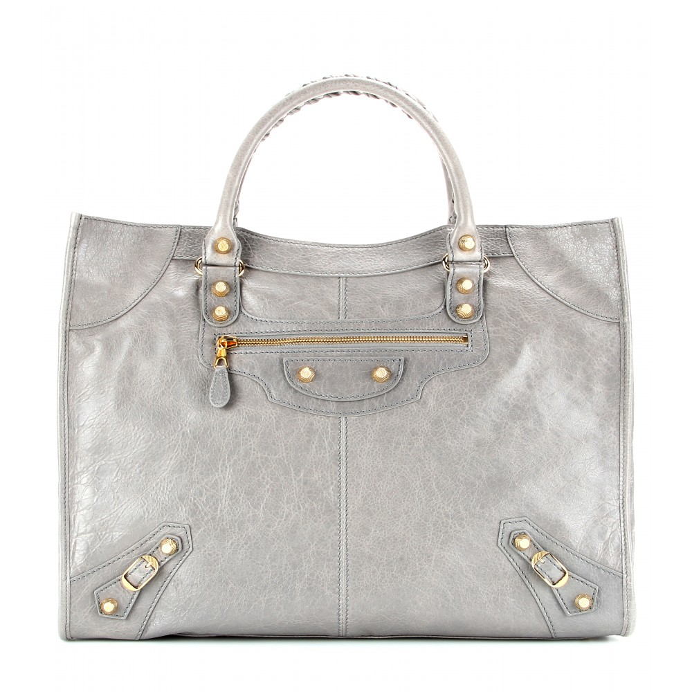 balenciaga giant monday leather tote in gray lyst rh lyst co uk