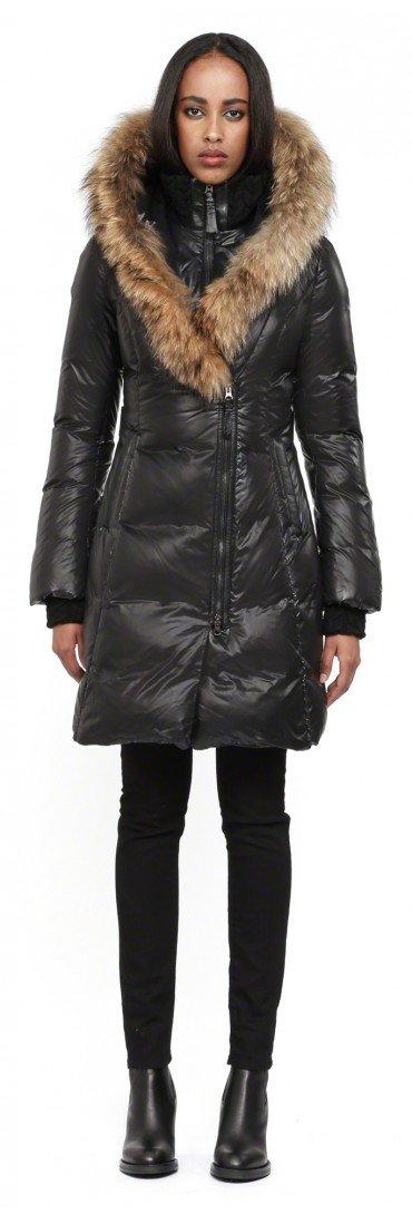 Mackage Chloe-sp Black Fitted Down Jacket With Fur Hood in Black ...
