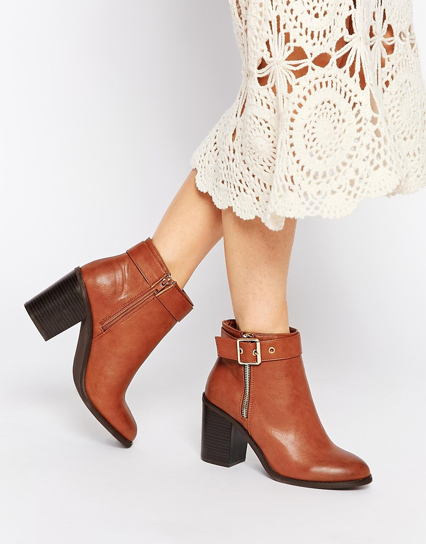 c1b4b8eb6cf Miss Kg Janelle Buckle Heeled Ankle Boots in Brown - Lyst