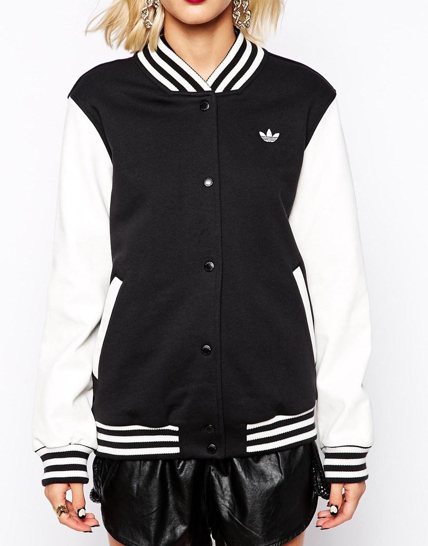 Adidas originals black white baseball jacket