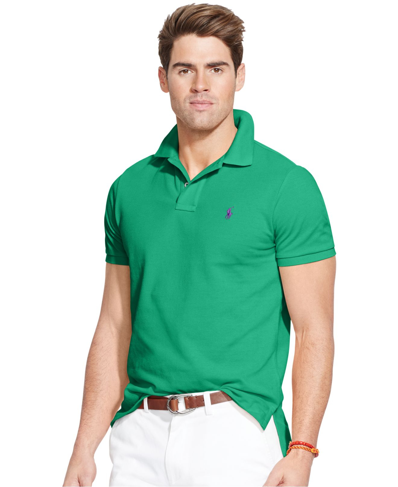 9f1b05dc Polo Ralph Lauren Classic-fit Mesh Polo in Green for Men - Lyst