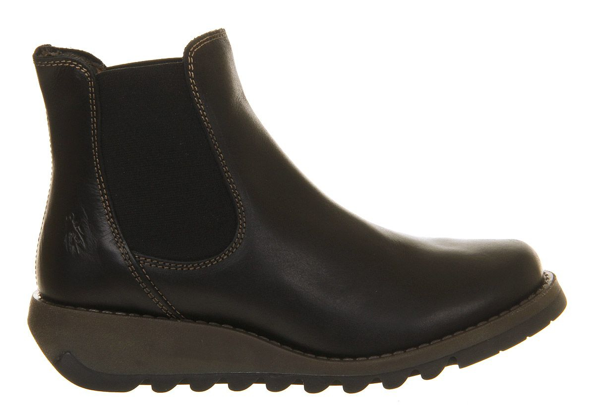fly salv low wedge chelsea boots in black lyst