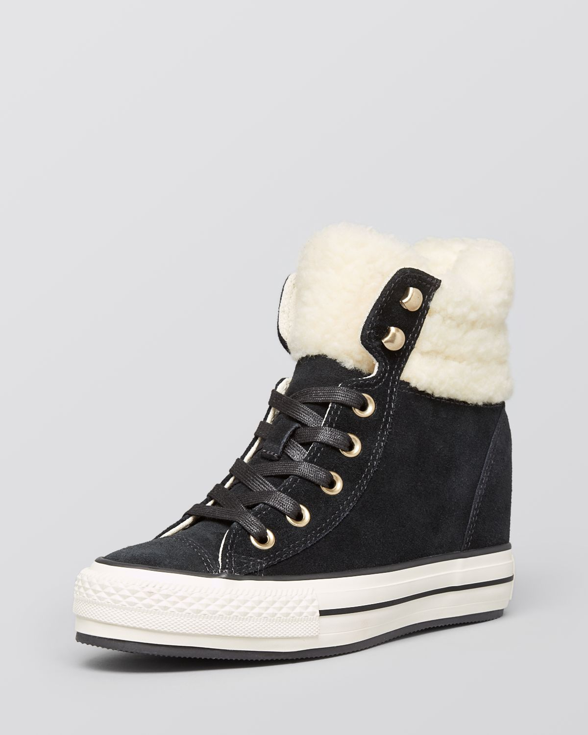 Lyst - Converse Lace Up High Top Wedge Sneakers - Faux-Shearling in ... a2c51dfac