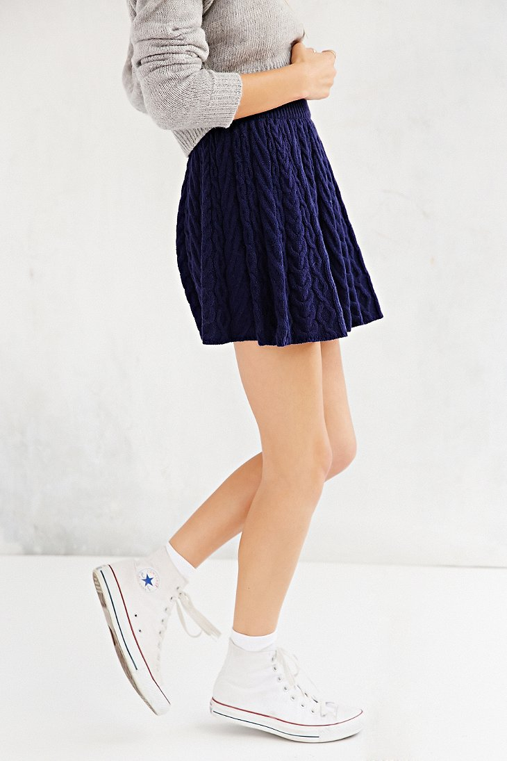 Kimchi Blue Flirty Cable,Knit Sweater Skirt in Sapphire