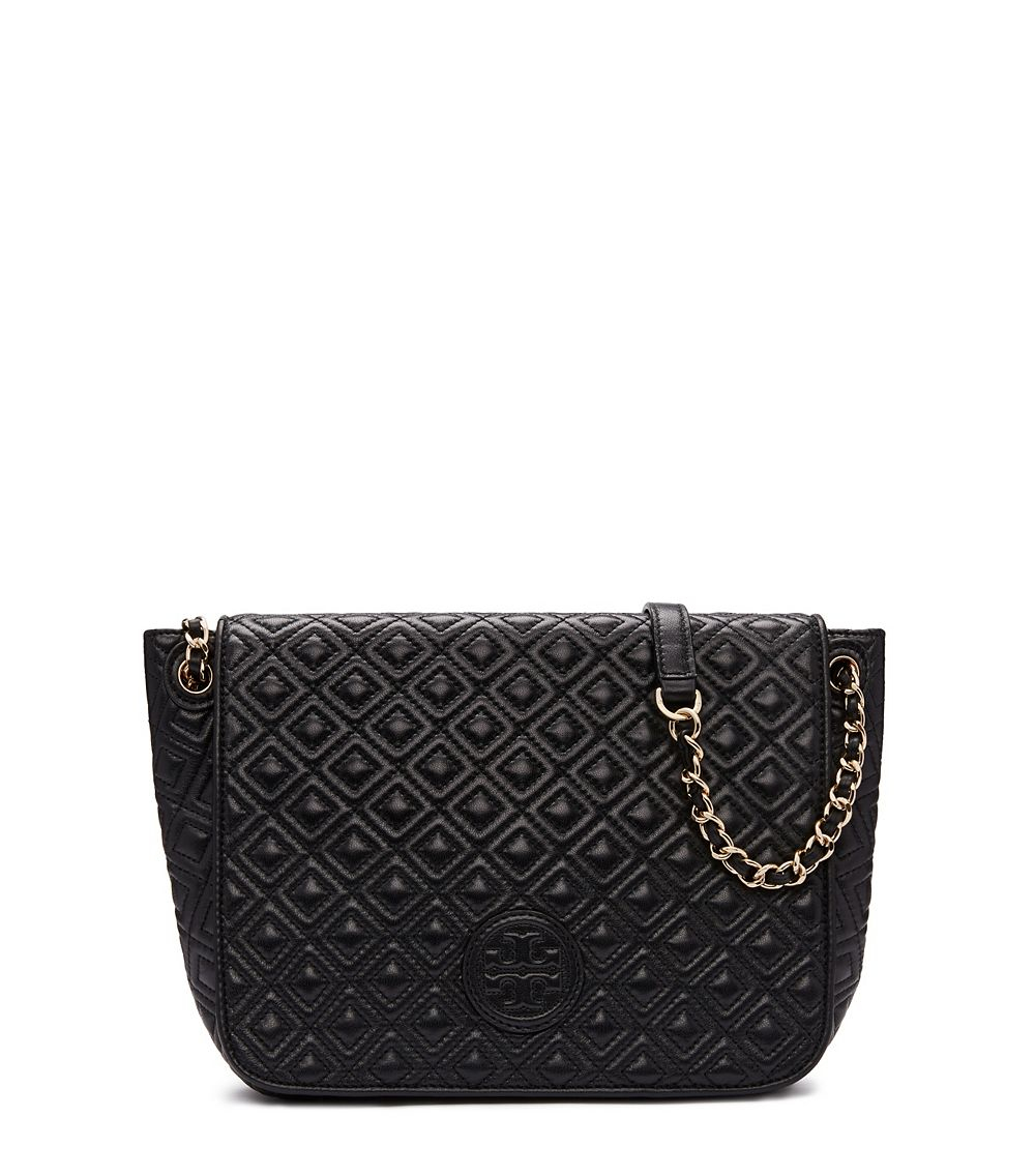 6b97284ccd Tory Burch Marion Quilted Small Flap Shoulder Bag in Black - Lyst