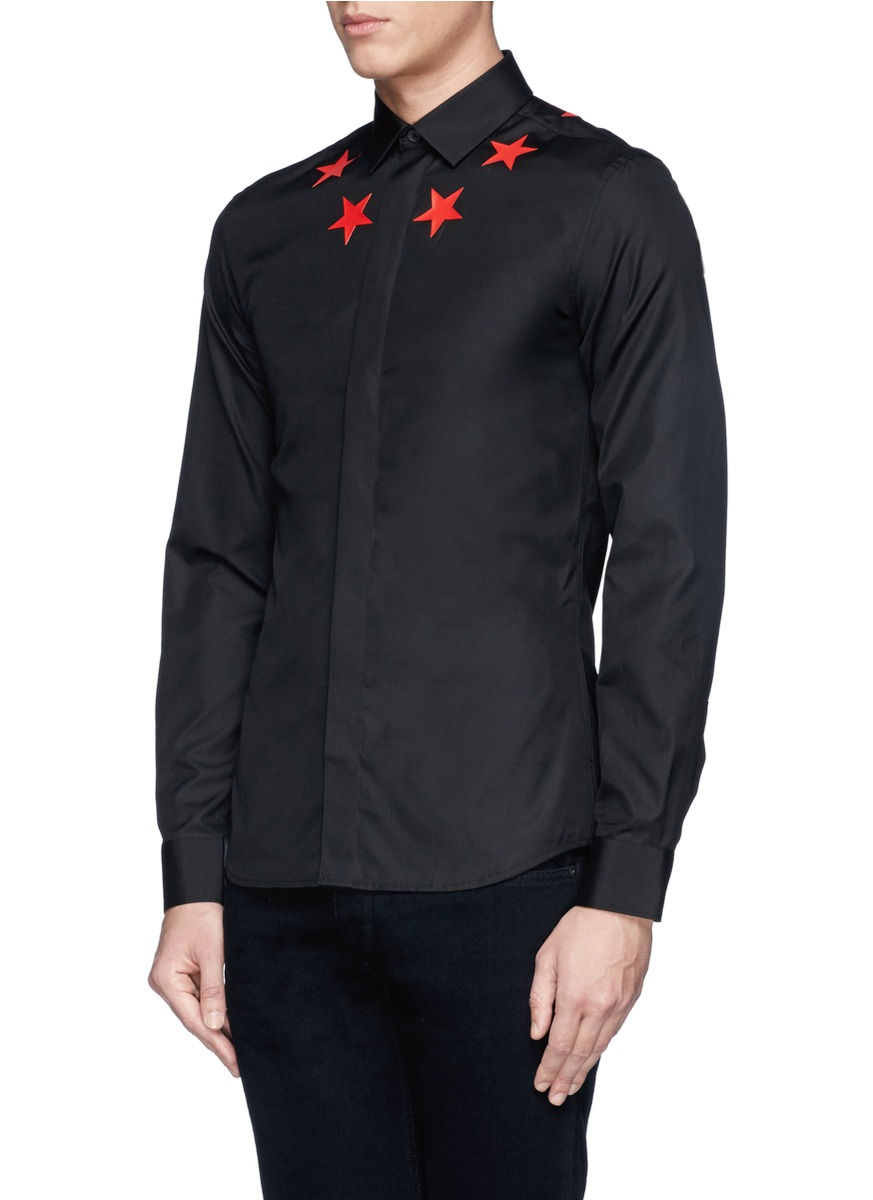 Givenchy star print cotton poplin shirt in black for men for Givenchy 5 star shirt