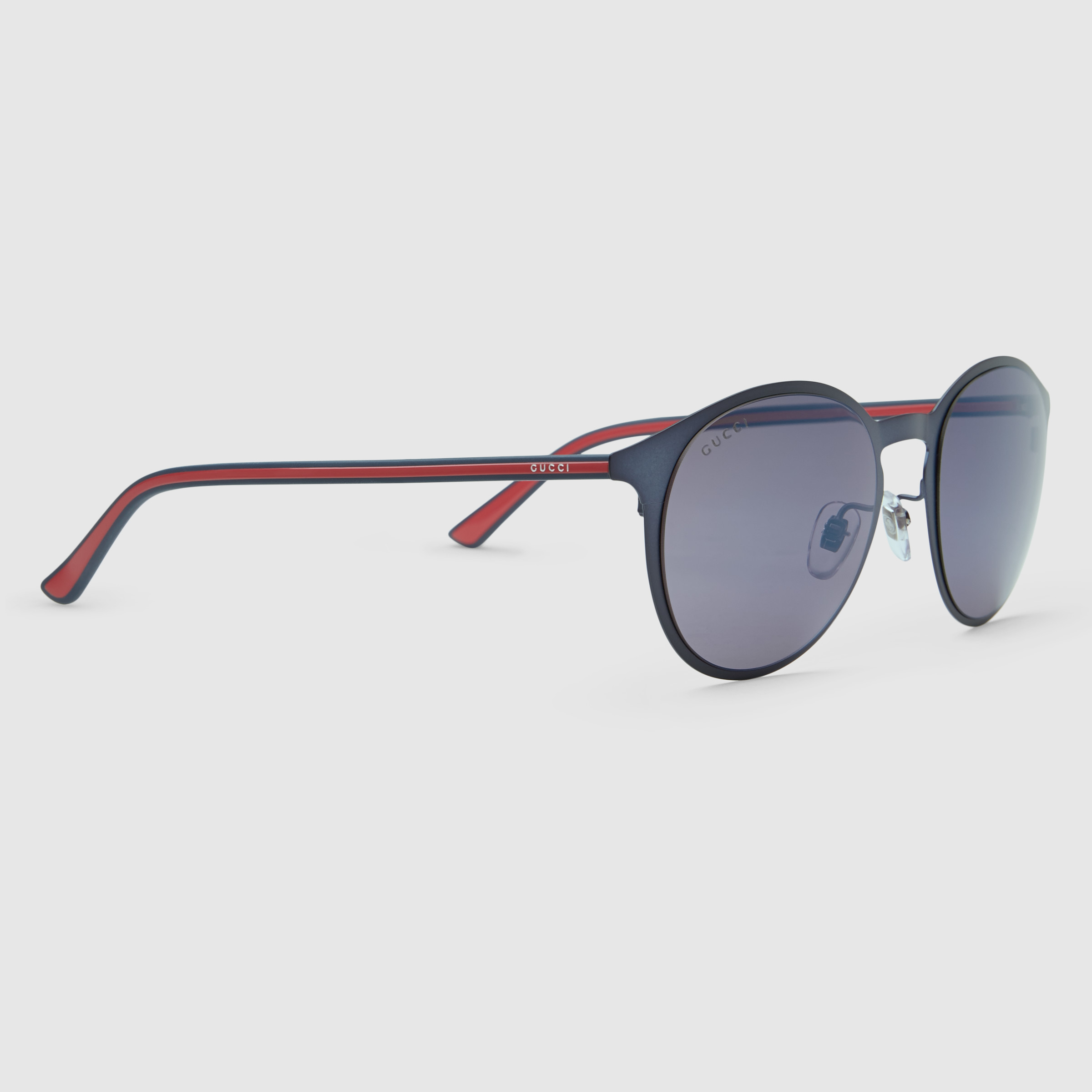 Lyst - Gucci Metal And Injected Web Round-frame Sunglasses in Blue ...