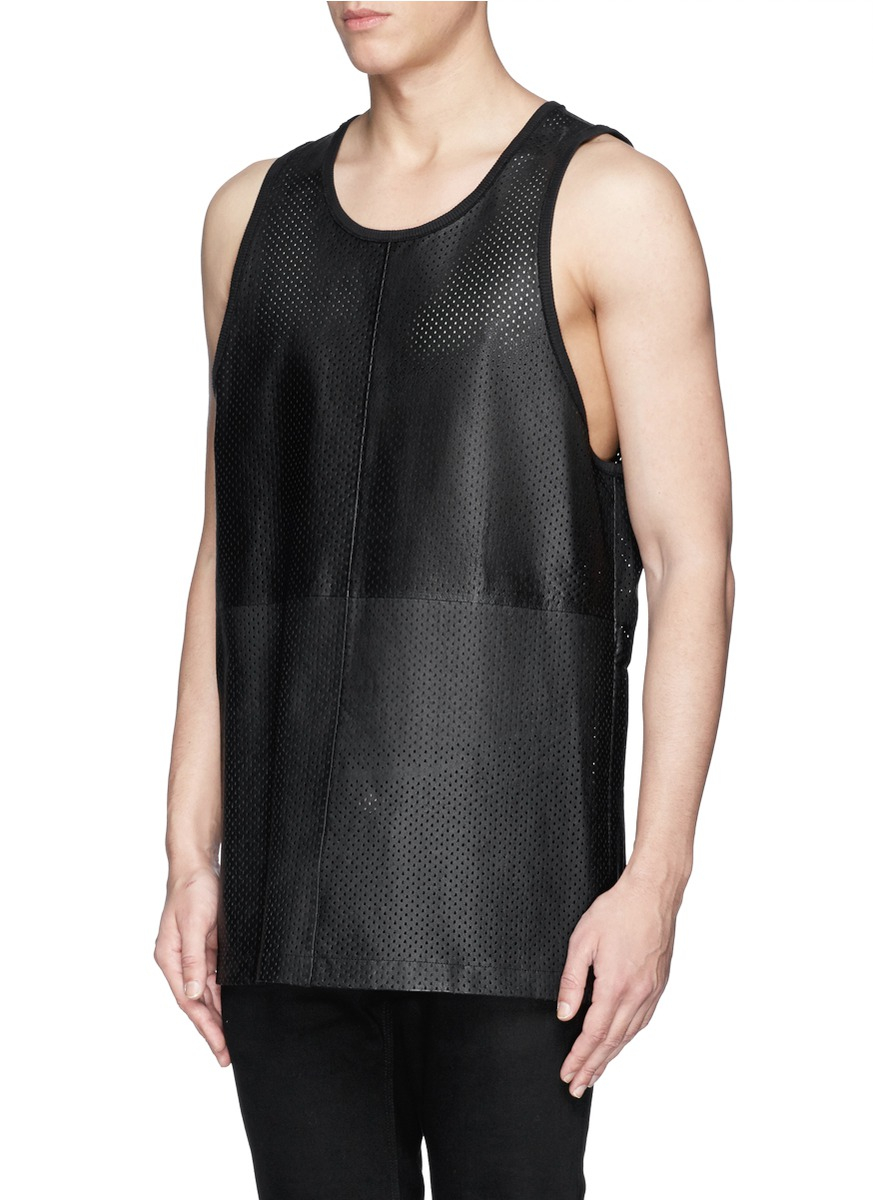 23c123cb4fd36 Lyst - Givenchy Perforated Leather Tank Top in Black for Men