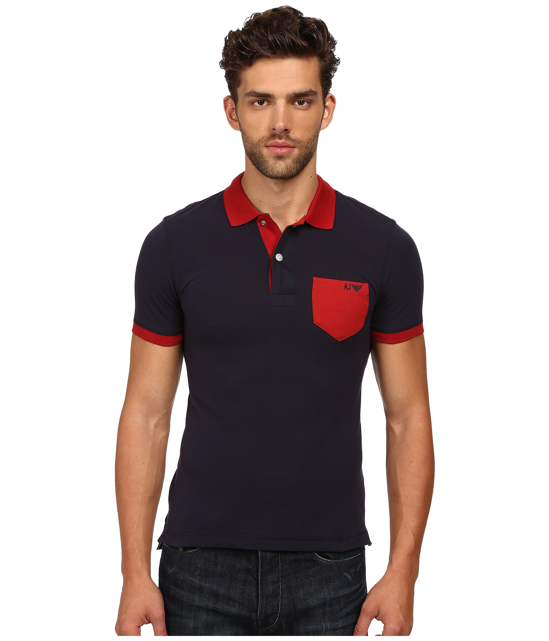 Armani jeans cotton polo w contrast chest pocket in blue for Men s cotton polo shirts with pocket