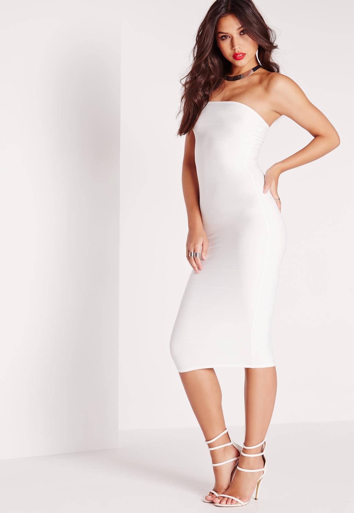 Missguided Strapless Bandage Bodycon Midi Dress White in White | Lyst