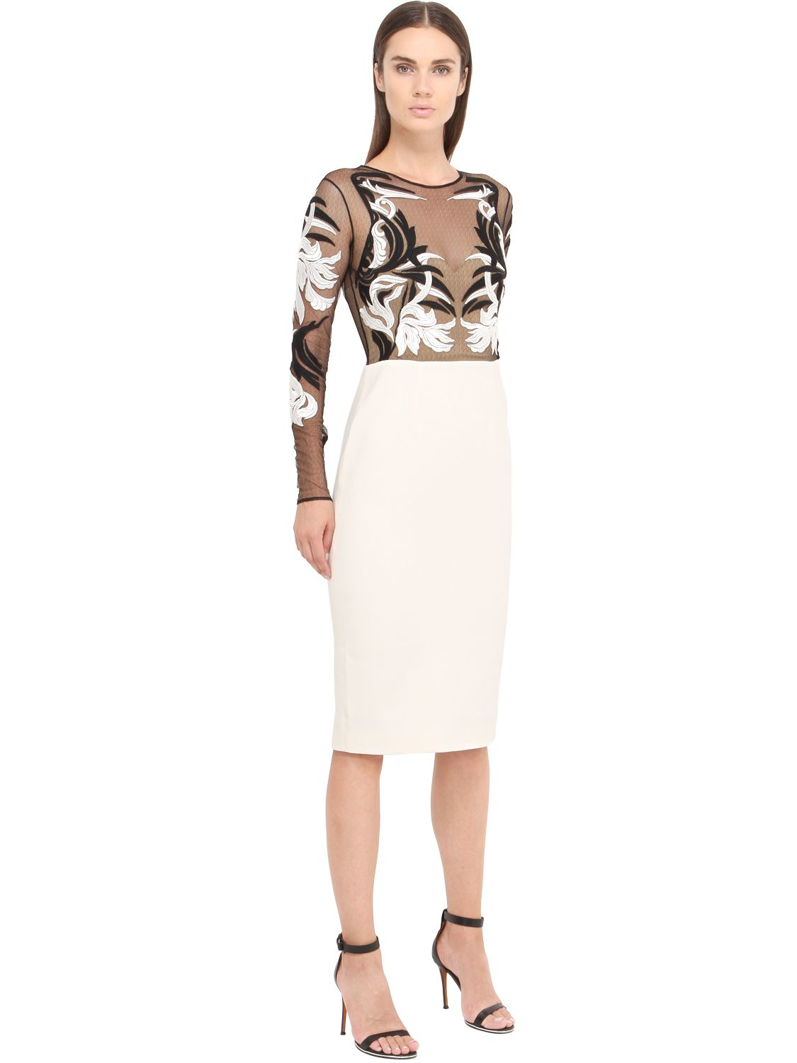 Lyst zuhair murad embroidered tulle cady pencil dress
