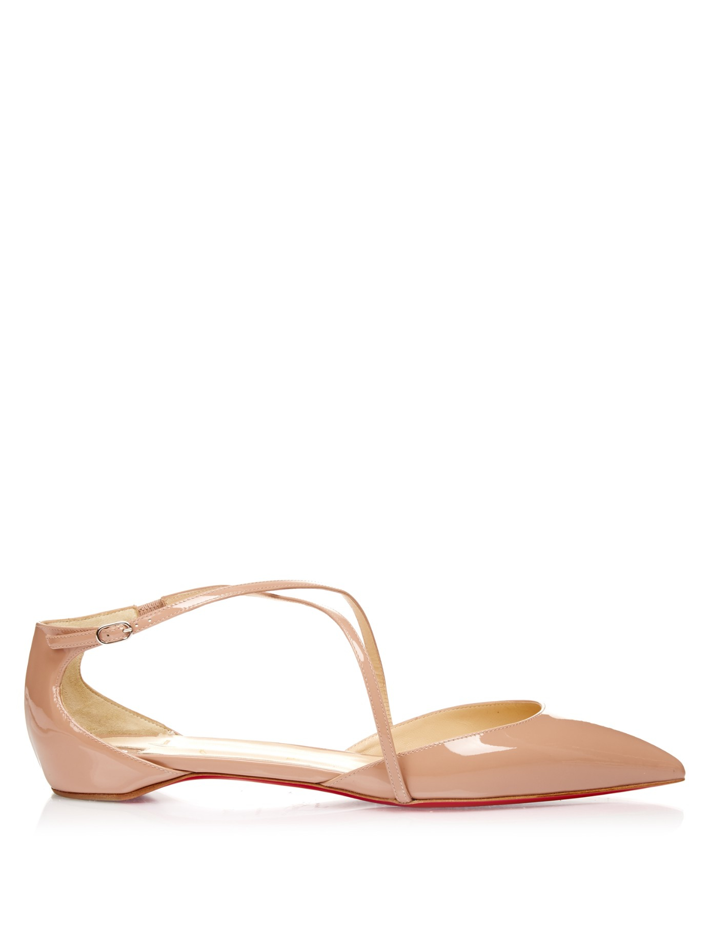 louboutin shoes - Christian louboutin Crosspiga Patent-leather Flats in Beige (NUDE ...
