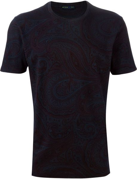 Etro Floral Paisley Print Cotton T Shirt In Black For Men
