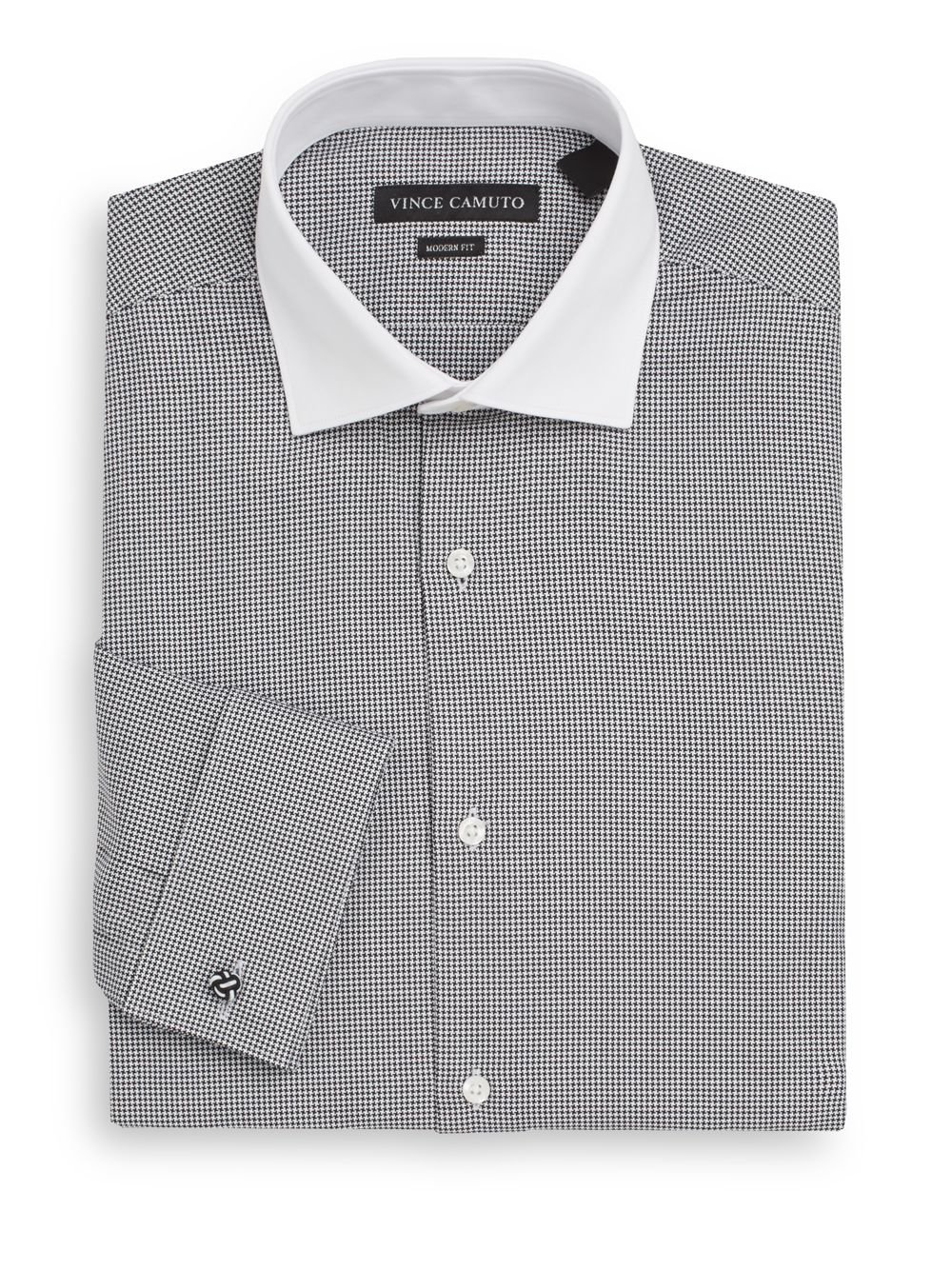 Vince camuto modern fit houndstooth cotton dress shirt in for Modern fit dress shirt