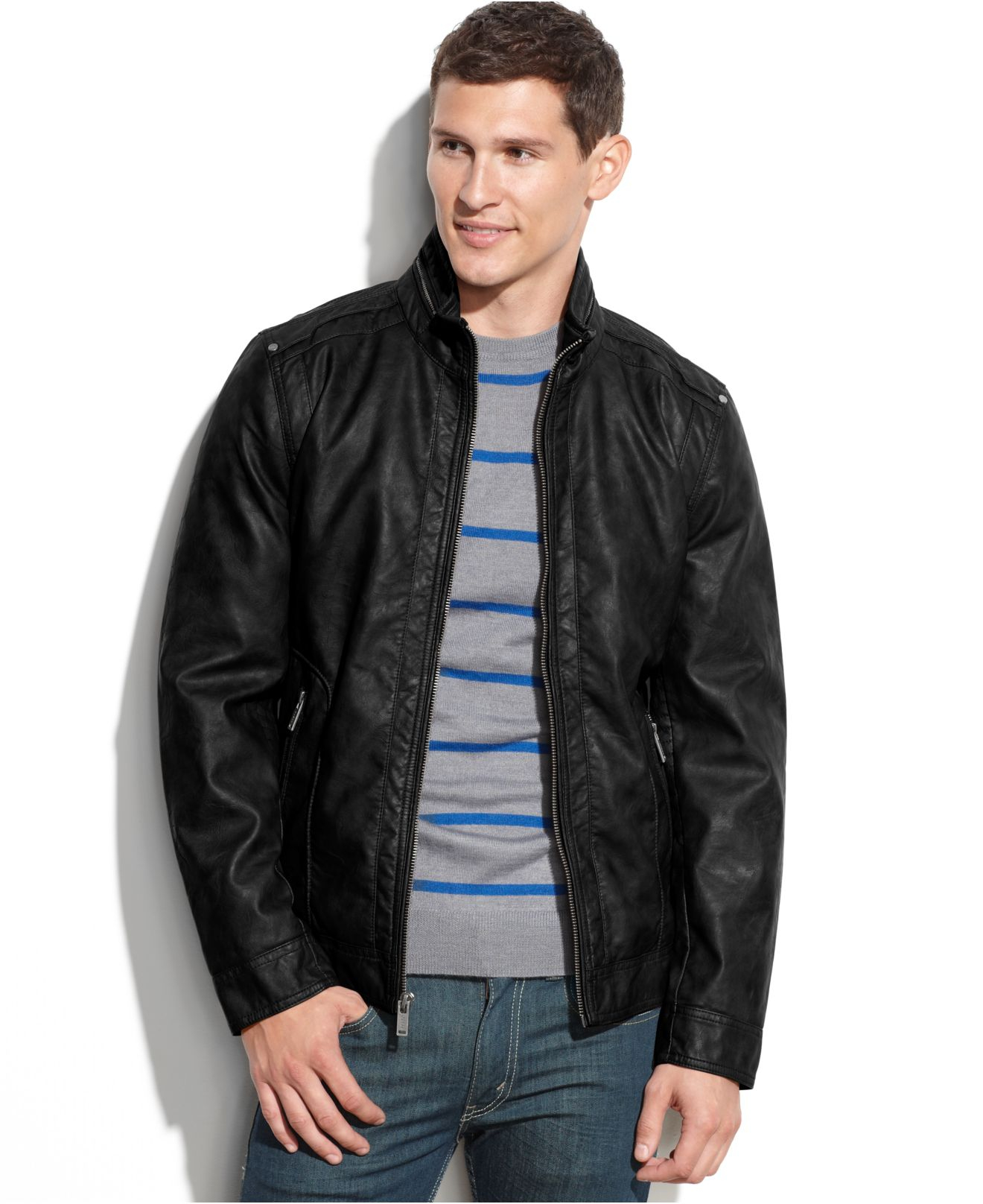 Guess Lightweight Faux Leather Moto Jacket in Black for Men | Lyst