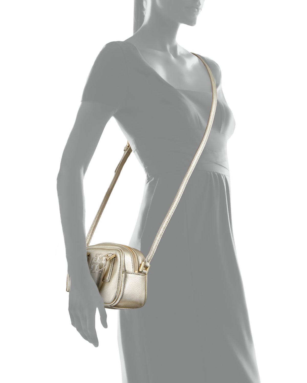 c6d778ad9a7 Lyst - Tory Burch Thea Metallic Pebbled Leather Mini Satchel Bag ...