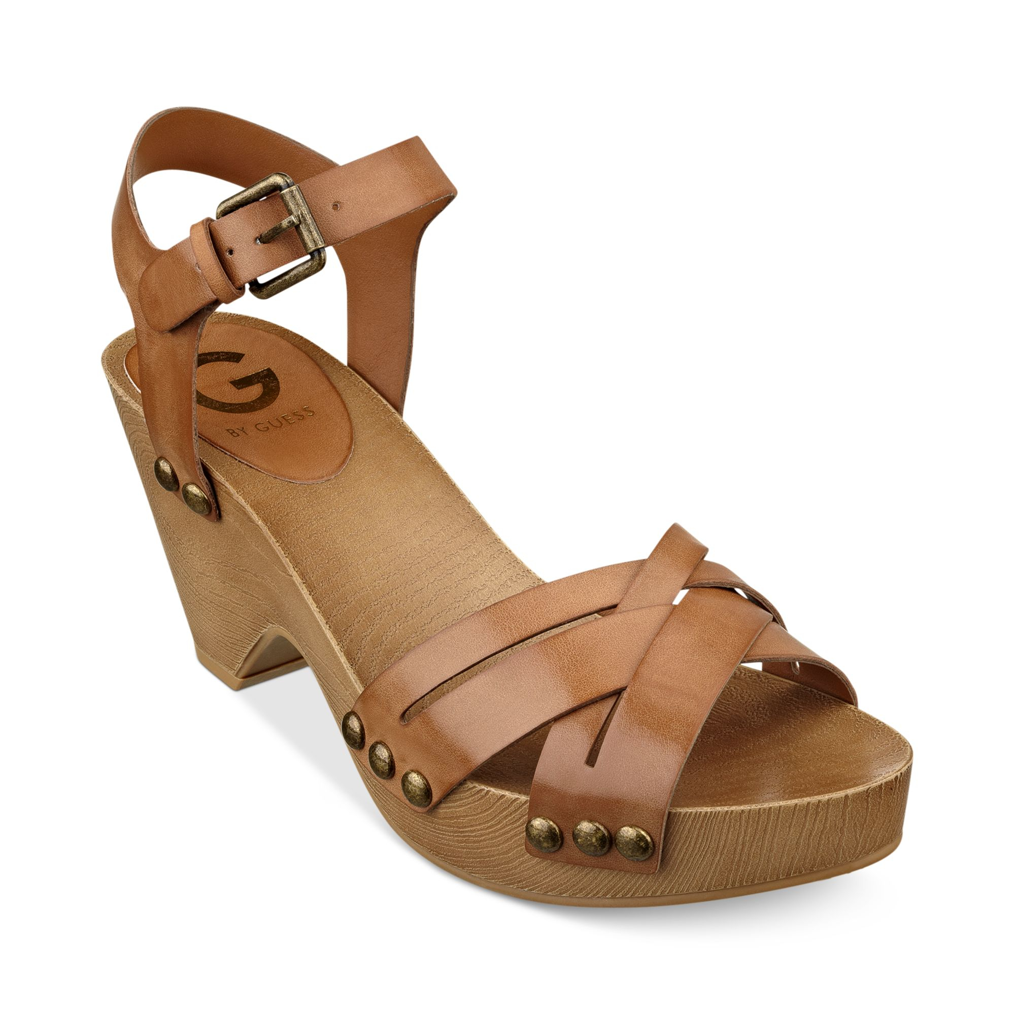 d68f62e422a45 G by Guess Womens Jackal Platform Clog Sandals in Brown - Lyst