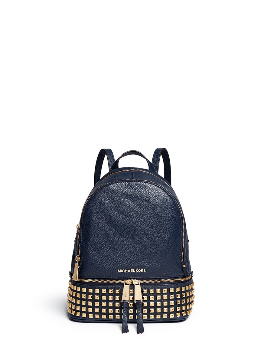 Lyst - Michael Kors 'rhea' Small Stud Leather Backpack in Blue