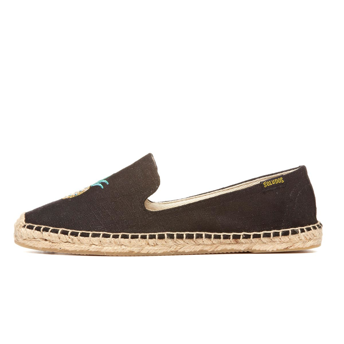 soludos smoking slipper embroidery in black lyst